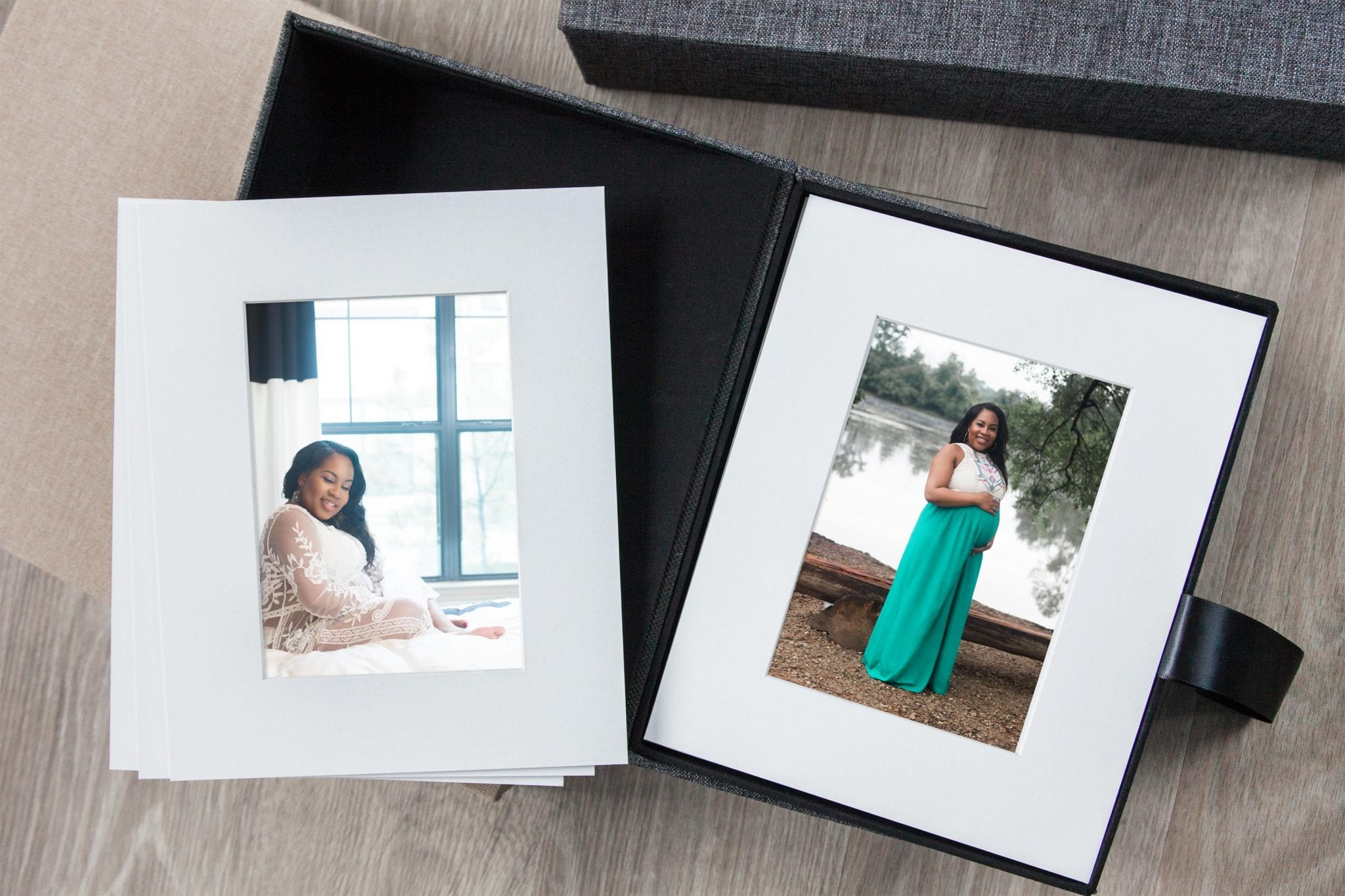 Printed Art, Keepsakes, & Heirlooms like Folio Boxes by Chic Jae Houston Portrait & Lifestyle Photographer Heirloom Folio Box with Matted Photos for Keepsake