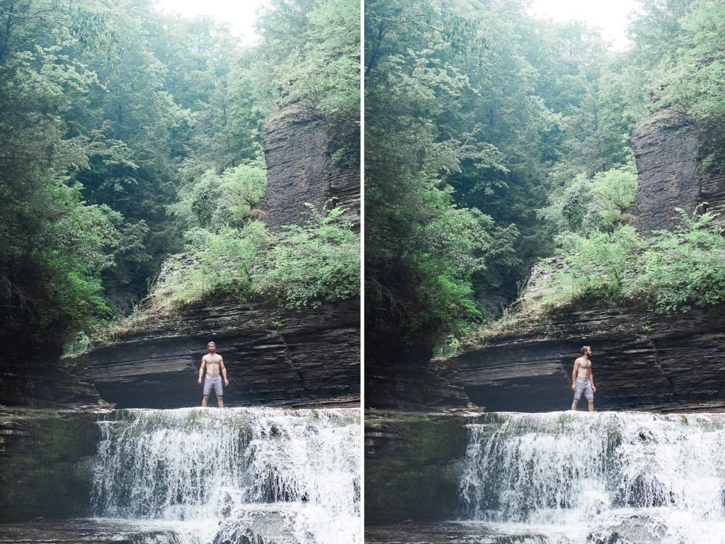 Man standing at top of waterfall at Treman State Park during family hike by Chic Jae Portrait Photography