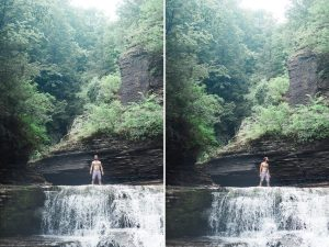 Standing at top of waterfall in Ithaca New York Film Print by Chic Jae Portrait Photography
